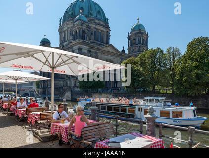 Café sur les rives de la rivière Spree avec le Berliner Dom (Cathédrale de Berlin) derrière, Spreeufer, Nikolaiviertel, Banque D'Images