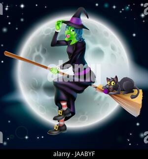 Un heureux cartoon Halloween sorcière volant sur son balai avec son chat noir et une pleine lune en arrière-plan Banque D'Images