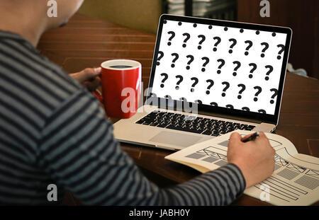 Les marques posées Solution Foire Aux Questions Banque D'Images