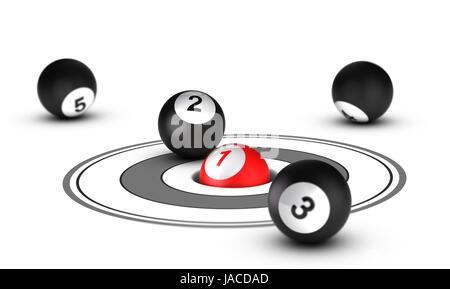 Concept Leader, meilleur positionnement. Une boule rouge avec le numéro 1 à l'intérieur d'un trou avec d'autres Banque D'Images