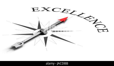 Concept de la boussole, l'aiguille pointant vers un mot. Conceptual image sur fond blanc pour atteindre l'excellence Banque D'Images