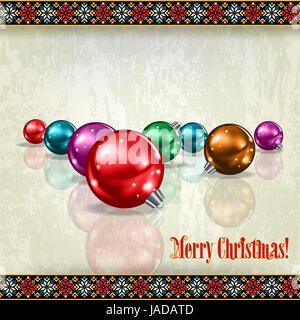 Résumé salutation célébration avec les décorations de Noël sur fond beige grunge Banque D'Images