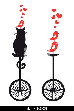 Chat et oiseaux sur vintage cycle mono, vector illustration Banque D'Images