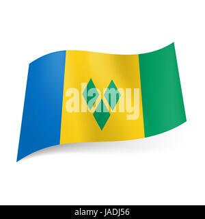 Drapeau national de Saint Vincent et les Grenadines: bleu, jaune et vert avec des rayures verticales de trois losanges Banque D'Images