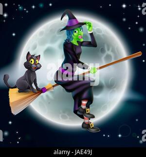 Une illustration d'un Halloween sorcière verte voler sur son balai avec son chat en face d'une étoile du ciel nocturne Banque D'Images