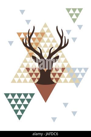 Le cerf de Noël avec motif géométrique abstraite, vector illustration d'arrière-plan Banque D'Images