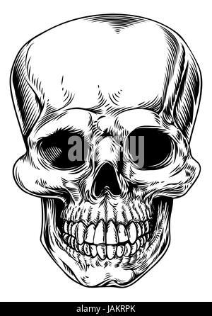 Un crâne humain vintage ou faucheur tête décès illustration Banque D'Images
