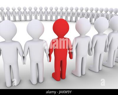 Les gens 3d forment un grand cercle, mais l'un est de couleur différente Banque D'Images