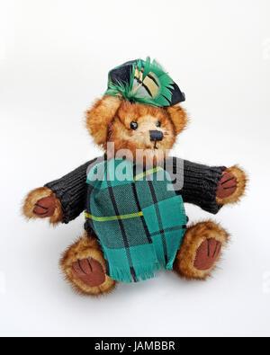 2455eb9ec43d Câlin mignon ourson écossais portant Écharpe de tartan, cavalier laineux,  et beret tartan avec
