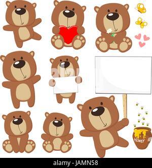Ensemble de mignon bébé ours posant dans des positions différentes et des éléments de conception, abeilles, miel Banque D'Images