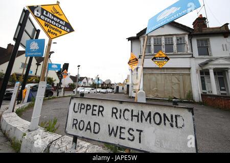 Londres, Royaume-Uni. 7 juin, 2017. Élection générale de la signalisation, Richmond, London Crédit: Expo photo/Alamy Banque D'Images