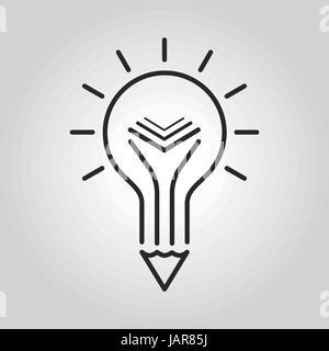 L'icône de l'enseignement créatif. Ampoule Lumière crayon et symbole de livre. Vector illustration. Banque D'Images