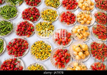 Piments colorés en rouge vif, jaune, vert et pieux à farmers market afficher à Rio de Janeiro, Brésil Banque D'Images