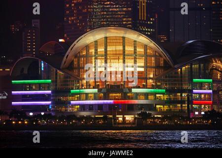 Hong Kong Convention and Exhibition Centre), et le port de Victoria, Hong Kong, Chine Banque D'Images