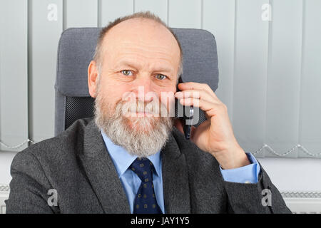 Portrait of a smiling businessman talking on the phone Banque D'Images