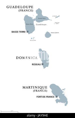 La Guadeloupe, la Dominique, la Martinique carte politique avec les capitales Basse-Terre, Roseau et Fort-de-France. Îles des Caraïbes, les pièces de Petites Antilles.