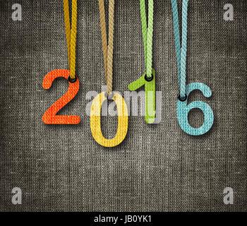 Bonne année 2016, des chiffres par hunging corde comme marionnettiste sur le sac arrière-plan. Banque D'Images