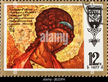 Urss - circa 1977: un timbre-poste imprimé en l'URSS montre l'icône de l'art russe ancien Archange Michael par Banque D'Images