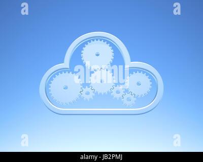 Une icône Cloud Computing métallique on Blue Sky Banque D'Images