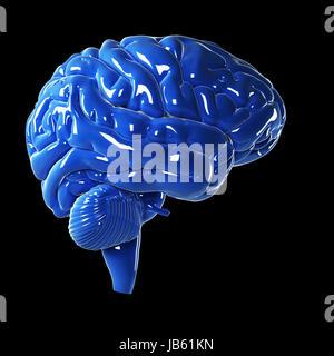 Illustration en rendu 3d - bleu brillant cerveau Banque D'Images