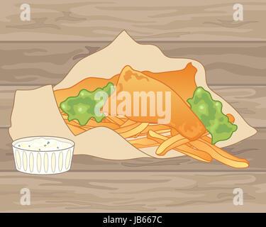 Une illustration de l'anglais traditionnel fish and chips dans du papier brun avec des petits pois et un bol de Banque D'Images
