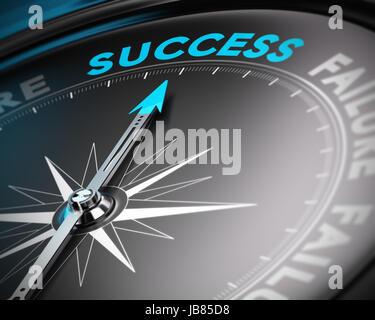 Résumé avec la boussole l'aiguille dirigée vers le mot succès avec effet de flou. Image conceptuelle adapté pour Banque D'Images