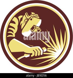 Illustration du travail travailleur soudeur à l'aide d'un chalumeau vu de côté situé à l'intérieur du cercle sur Banque D'Images