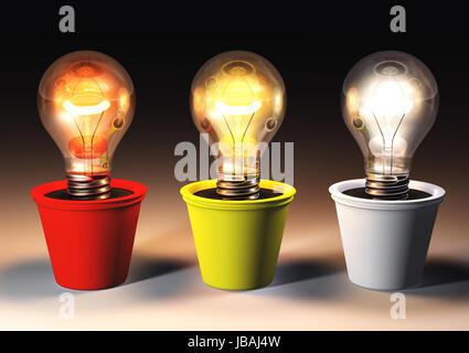 Trois ampoules allumées avec différentes couleurs de lumière sont de plus en plus des pots de couleur qui se trouvent Banque D'Images