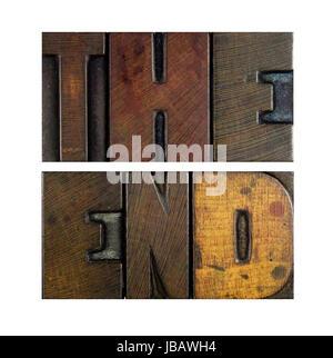 Les mots la fin écrit en vintage type letterpress Banque D'Images