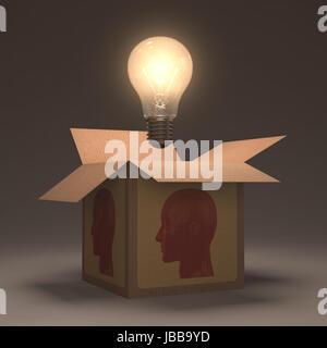 La lampe hors de la boîte. Concept d'ouvrir votre esprit. Banque D'Images