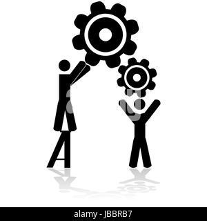 Concept illustration montrant deux personnes travaillant ensemble pour assembler les engrenages de la machine Banque D'Images