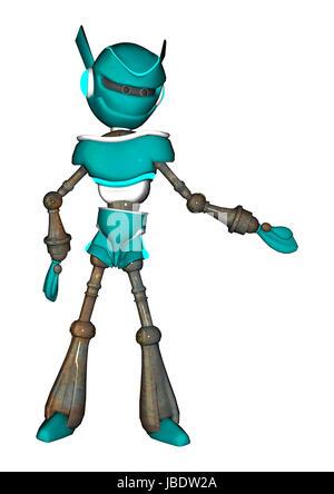 Numérique 3D render of a robot mignon expliquant quelque chose d'isolé sur fond blanc Banque D'Images