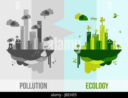 Rendez-vous l'environnement vert illustration. L'écologie et du concept de ville de la pollution. Vecteur EPS10 Banque D'Images