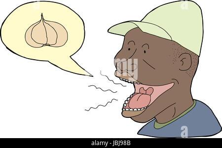 L'homme à chapeau avec l'ail souffle sur fond blanc Banque D'Images