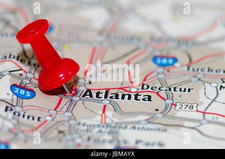 Atlanta Géorgie ville repère sur la carte Banque D'Images