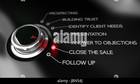 Bouton de l'interrupteur placé sur le texte Fermer la vente, fond noir et feu rouge. Pour l'illustration de l'image Banque D'Images