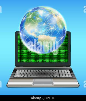 Globe terrestre avec la ligne réseau flottant sur ordinateur portable Banque D'Images