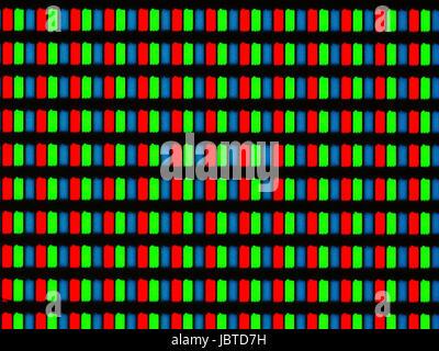 Photomicrographie de lumière d'un écran LCD mobile vu à travers un microscope