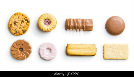 Divers Les biscuits isolé sur fond blanc. Banque D'Images