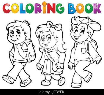 Coloriage Theme Ecole.Livre De Coloriage Eleve Theme 2 Photo Illustration Banque D