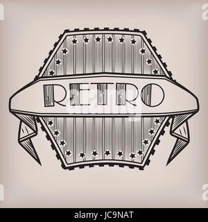 Style rétro vintage style ancien logo logo autocollant avec l'inscription en ligne bande fond. Close-up Vector illustration Banque D'Images