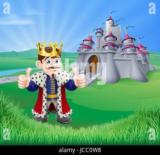 Une illustration d'un dessin animé roi donnant un Thumbs up et château féerique dans un paysage verdoyant de collines Banque D'Images