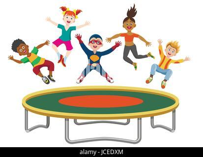 Les enfants énergiques de sauter sur un trampoline isolé sur fond blanc. Heureux Active les filles et les garçons Banque D'Images
