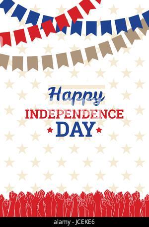 Date de l'indépendance aux USA, le 4 juillet. Carte de vœux ou modèle de page, l'élément de conception de scénario. Banque D'Images