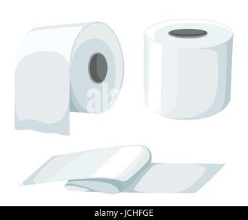 Maquette du rouleau de papier réglé isolé sur fond blanc. vector illustration papier toilette rouleau, ruban de caisse enregistreuse, fax thermique rouleau. Modèle du rouleau de papier. Banque D'Images