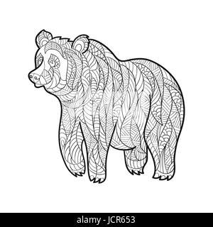 La main zentagle monochrome vecteur illustration de l'ours. Coloriage avec détails haute isolé sur fond blanc. Style Banque D'Images