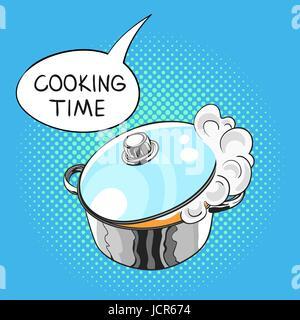 Vector hand drawn pop art illustration de poêle avec un bain à vapeur dégagé de la couvercle en verre. Bulle avec Banque D'Images