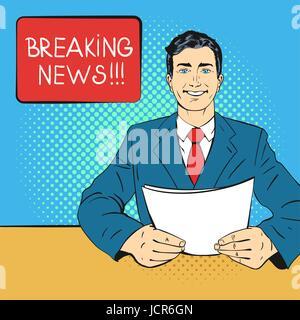 Vector hand drawn pop art illustration de présentateur holding feuille de papier dans ses mains. Concept de breaking Banque D'Images