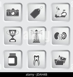 Des icônes sur les boutons pour la conception Web et d'applications mobiles fixés 9. Vector illustration. Banque D'Images