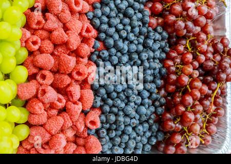 Produits frais bio graines de grenade, mûres, framboises, myrtilles et fraises en lignes les unes à côté des autres Banque D'Images